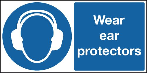 UK PPE signs - 100 x 250 mm wear ear protectors self adhesive vinyl labels.