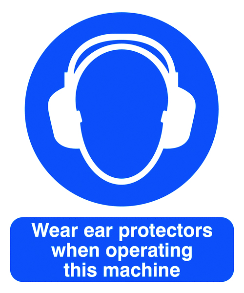 UK PPE signs - 150 x 125 mm wear ear protectors when self adhesive vinyl labels.