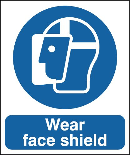 UK PPE signs - 150 x 125 mm wear face shield self adhesive vinyl labels.