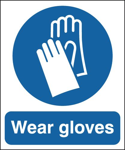 UK PPE signs - 150 x 125 mm wear gloves self adhesive vinyl labels.