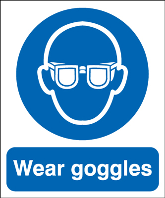 UK PPE signs - 150 x 125 mm wear goggles self adhesive vinyl labels.