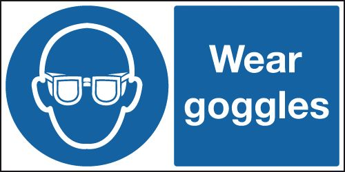 UK PPE signs - 100 x 250 mm wear goggles self adhesive vinyl labels.
