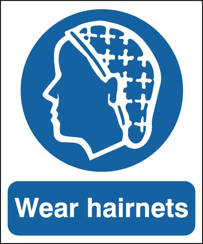 UK PPE signs - 150 x 125 mm wear hairnets self adhesive vinyl labels.