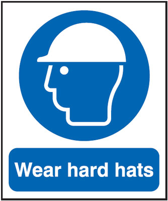 UK PPE signs - 600 x 450 mm wear hard hats anti glare 2 mm plastic
