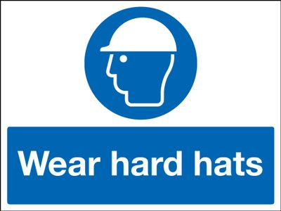 UK PPE signs - 50 x 100 mm wear hard hats self adhesive vinyl labels.
