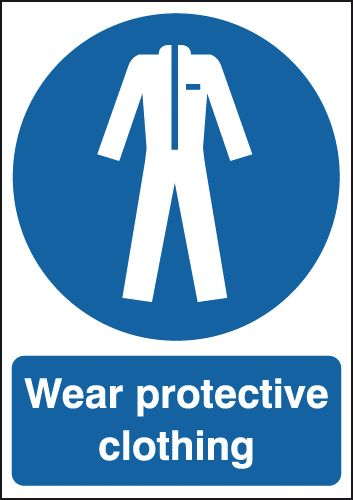 UK PPE signs - A2 wear protective clothing self adhesive vinyl labels.