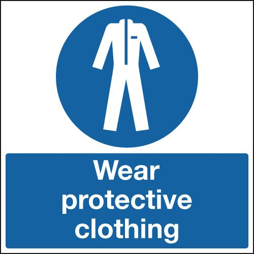 UK PPE signs - 450 x 450 mm wear protective clothing self adhesive vinyl labels.