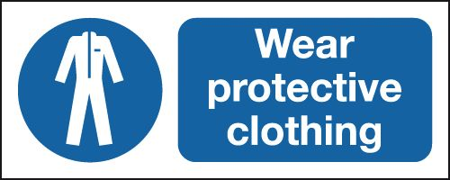 UK PPE signs - 100 x 250 mm wear protective clothing self adhesive vinyl labels.