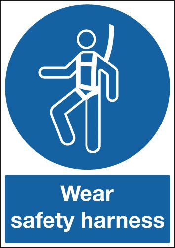 UK PPE signs - A1 wear safety harness self adhesive vinyl labels.