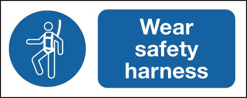 UK PPE signs - 100 x 250 mm wear safety harness self adhesive vinyl labels.