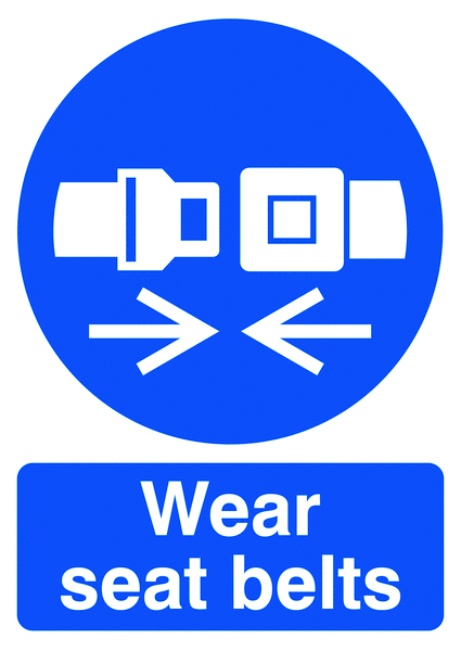 UK PPE signs - 70 x 50 wear seat belts self adhesive vinyl labels.