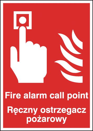 A5 fire alarm call point reczny ostrzega 1.2 mm rigid plastic signs with self adhesive backing.