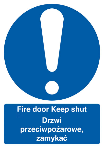 A5 fire door keep shut (polish) 1.2 mm rigid plastic signs with self adhesive backing.