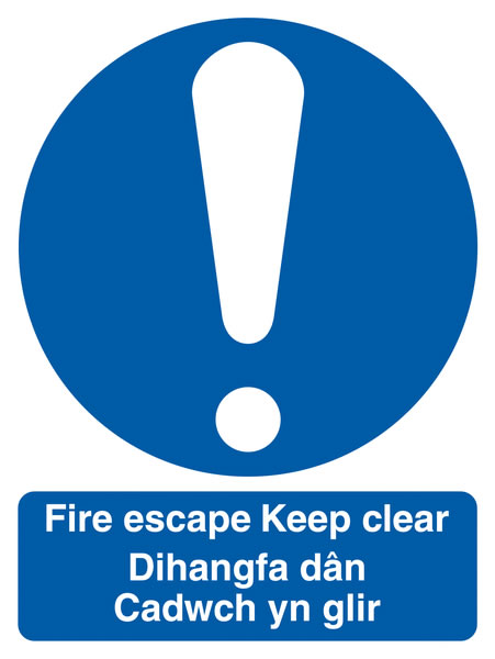 Fire escape signs - 250 x 200 mm fire escape keep clear dihangfa 1.2 mm rigid plastic signs with self adhesive backing.