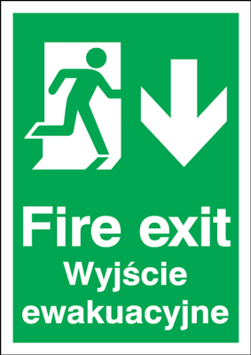 UK Fire Exit Signs - A5 fire exit (polish) running man down self adhesive vinyl labels.