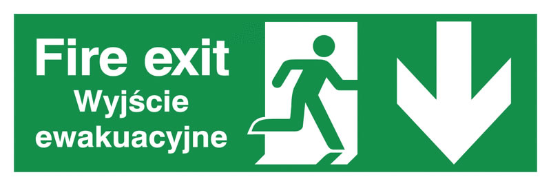 UK Fire Exit Signs - 150 x 450 mm fire exit (polish) running man 1.2 mm rigid plastic signs.
