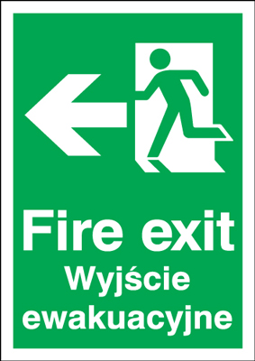 UK Fire Exit Signs - A5 fire exit (polish) running man left 1.2 mm rigid plastic signs.