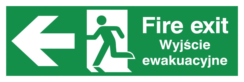 150 x 450 mm fire exit (polish) running man 1.2 mm rigid plastic signs with self adhesive backing.