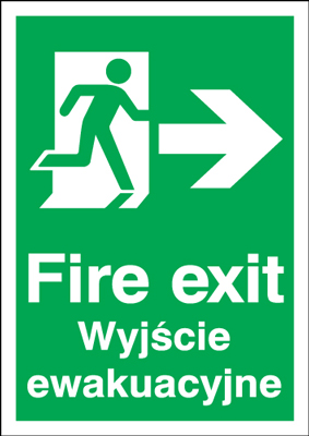 UK Fire Exit Signs - A5 fire exit (polish) running man right 1.2 mm rigid plastic signs.