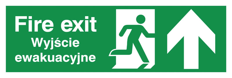 150 x 450 mm fire exit (polish) running man 1.2 mm rigid plastic signs.