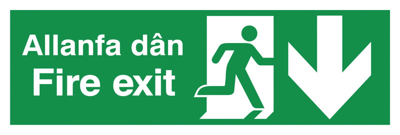 150 x 450 mm fire exit allanfa dan 1.2 mm rigid plastic signs with self adhesive backing.