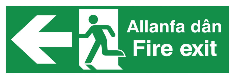 150 x 450 mm fire exit allanfa dan 1.2 mm rigid plastic signs.