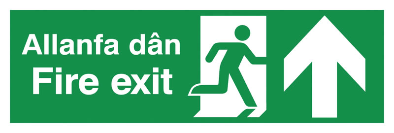UK Fire Exit Signs - 150 x 450 mm fire exit allanfa dan 1.2 mm rigid plastic signs.