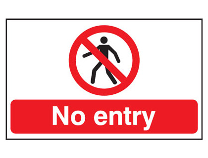 UK fire escape signs - 300 x 500 mm no entry anti slip self adhesive label