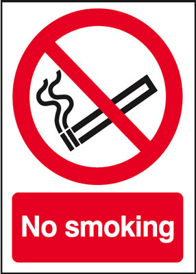 UK smoking signs - 100 x 100 mm no smoking face adhesive vinyl