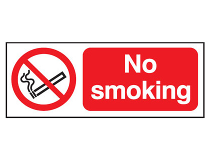 UK smoking signs - 100 x 250 mm no smoking t bar foamed plastic 3 mm