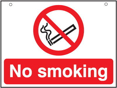 UK smoking signs - 450 x 600 mm no smoking 3 mm foam board signs.