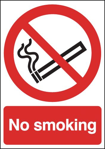 300 x 250 mm no smoking 1.2 mm rigid plastic signs with self adhesive backing.