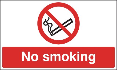 UK smoking signs - 150 x 125 mm no smoking self adhesive vinyl labels.