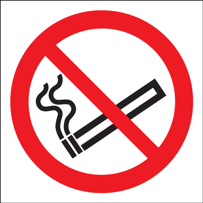 UK smoking signs - 100 Diameter no smoking symbol (bs) self adhesive vinyl labels.