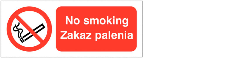 UK smoking signs - 100 x 250 mm no smoking zakaz palenia polish self adhesive vinyl labels.