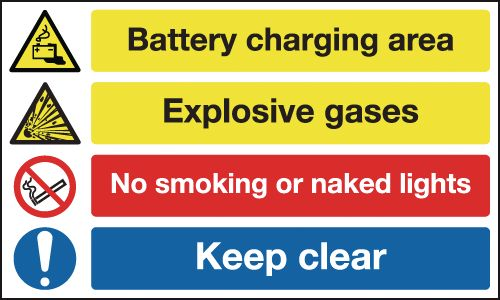 UK hazard signs - 400 x 600 mm battery charging area explosive 1.2 mm rigid plastic signs with self adhesive backing.