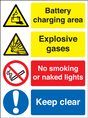 UK hazard signs - 450 x 600 mm battery charging area explosive 1.2 mm rigid plastic signs with self adhesive backing.