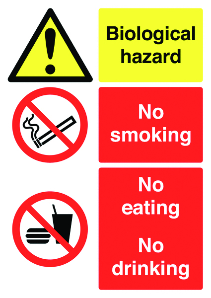 A2 biological hazard no smoking eating 1.2 mm rigid plastic signs with self adhesive backing.