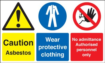 UK PPE signs - 300 x 500 mm caution asbestos wear self adhesive vinyl labels.