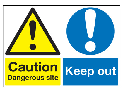 A2 caution dangerous site keep out self adhesive vinyl labels.