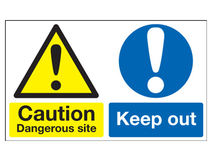 450 x 600 mm caution dangerous site keep out 1.2 mm rigid plastic signs with self adhesive backing.