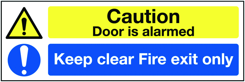 150 x 450 mm caution door is alarmed keep self adhesive vinyl labels.