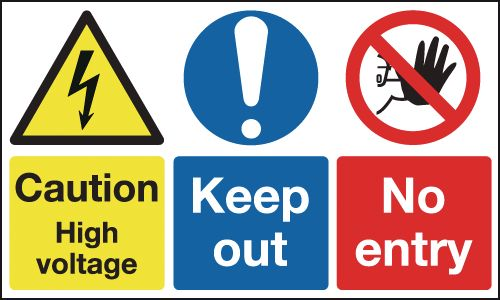 300 x 500 mm caution high voltage keep out 1.2 mm rigid plastic signs with self adhesive backing.