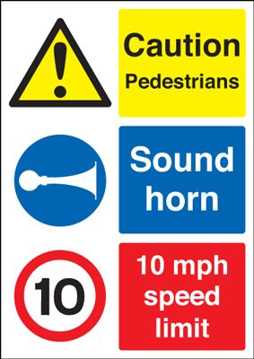 A5 Pedestrians sound horn 1.2 mm rigid plastic signs.