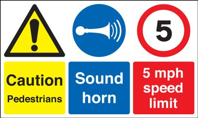 UK pedestrian labels - 300 x 500 mm Pedestrians sound horn self adhesive vinyl labels.