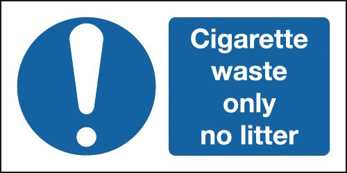 50 x 100 mm cigarette waste only no litter self adhesive vinyl labels.