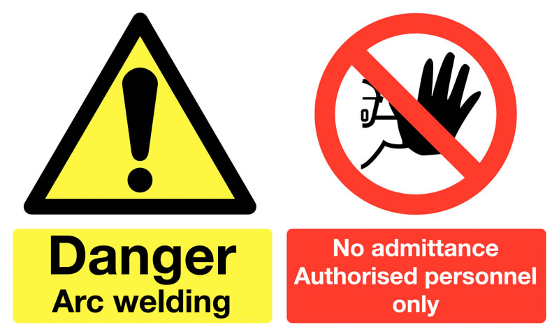 300 x 500 mm danger arc welding no admittance self adhesive vinyl labels.
