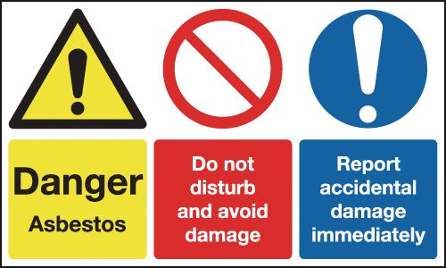100 x 200 mm danger asbestos do not disturb 1.2 mm rigid plastic signs with self adhesive backing.