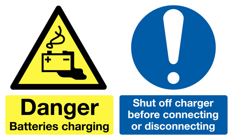 300 x 500 mm danger batteries charging shut 1.2 mm rigid plastic signs with self adhesive backing.
