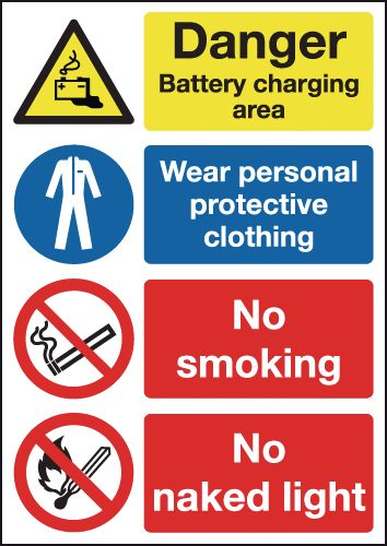 UK PPE signs - A4 danger battery charging area wear self adhesive vinyl labels.